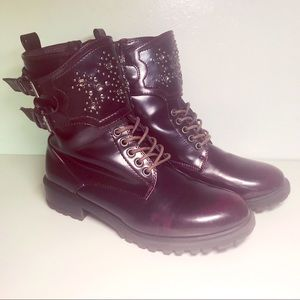 MIA Perry Embellished Combat Boots Purple 8.5